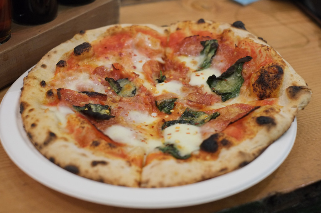 Community Pizzeria's Calabrese Pizza -- love the blistering.